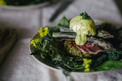 Asparagus Benedict on Quinoa Nettle Cakes from Local Milk