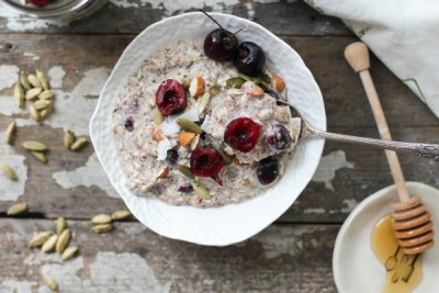 Cherry Cardamom Bircher Muesli from Nutrition Stripped